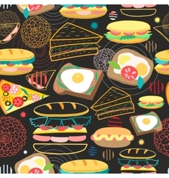 Seamless pattern sandwiches vector