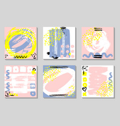 set of abstract backgrounds with hand drawn vector image