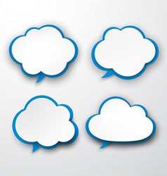 Set of paper white-blue clouds vector image