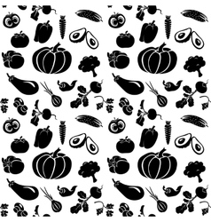 Set of silhouettes vegetables vector