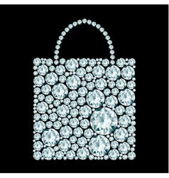 Shopping bag made of diamonds vector