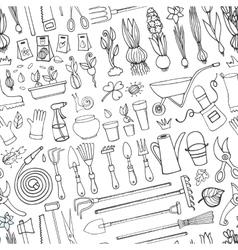 Spring garden doodle seamless patternOutline vector image