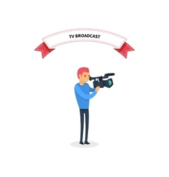 Tv broadcast man operator design flat vector