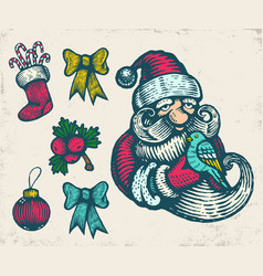 vintage icons for christmas vector image