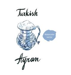 Watercolor ayran turkish and greec milk drink vector