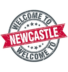 Welcome to newcastle red round vintage stamp vector