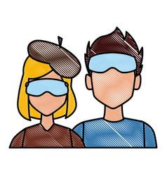 Winter couple avatar vector