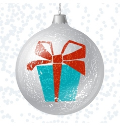 Merry christmas card with brilliant glossy ball vector