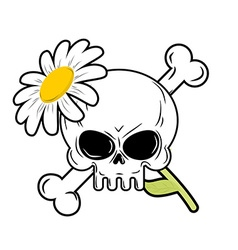 Skull and flower symbol of death and symbol of vector