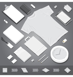 Corporate identity stationery objects mock-up vector image