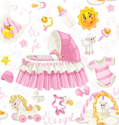 Seamless girls pattern of cribs toys and stuff vector image