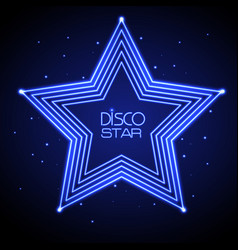 Neon sign of disco star vector