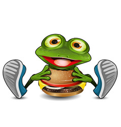 frog eats cheeseburger vector image