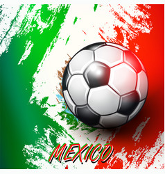 soccer ball on mexican flag background vector image