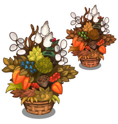 Beautiful basket with flower arrangement vector