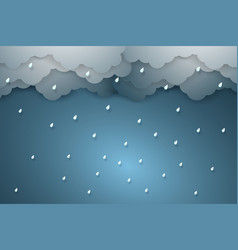 Rain background paper art style vector