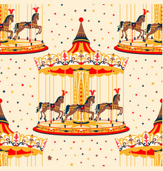 Carousel with horses vector
