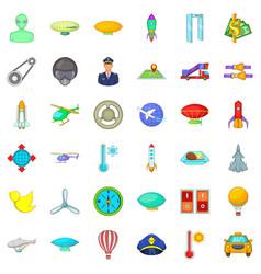Air force icons set cartoon style vector