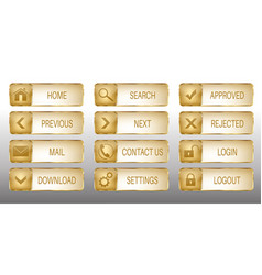 Elegant golden web buttons icons set vector