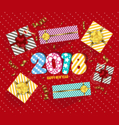2018 happy new year background with golden vector