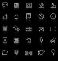 Application line icons with reflect on black vector