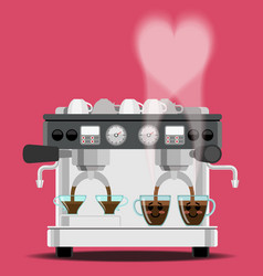 Coffee machine and coffee cups vector
