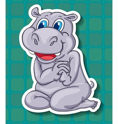 Cute hippo sitting on floor vector