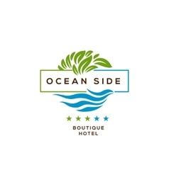 Logo for hotel ocean side resort logotype design vector