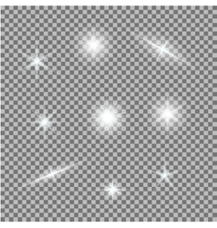 Set of glowing light bursts on grey white vector