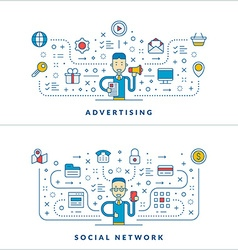 Advertisng social network flat line icons and vector