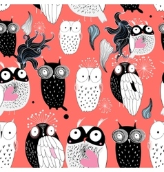 Owls on a red background vector