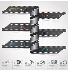 Travel and journey infographic with spiral film vector