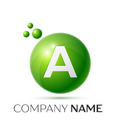 A letter splash logo green dots and circle bubble vector
