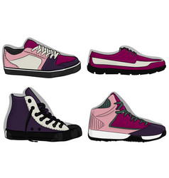 A set of shoes blue purple and lilac sport shoes vector