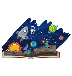 astronomy book with astronaut and aliens vector image