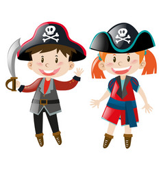 Boy and girl in pirate costume vector