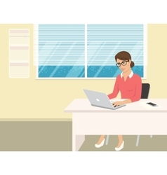 Business woman wearing rose shirt sitting in the vector image