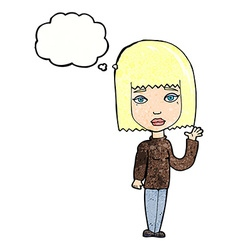 Cartoon woman waving with thought bubble vector