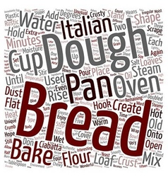 Ciabatta italian bread text background wordcloud vector