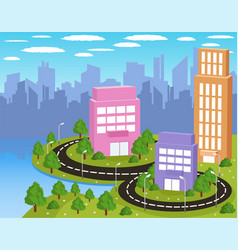 colorful cartoon city vector image