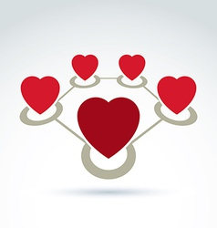 Connected loving hearts place in a circles vector