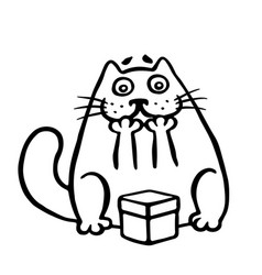 cute cat enjoys the gift in the box vector image vector image