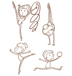 doodle character for gymnastic players vector image vector image