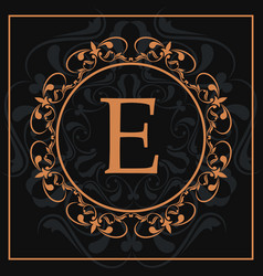 Florishes gold letter e calligraphic heraldic dark vector