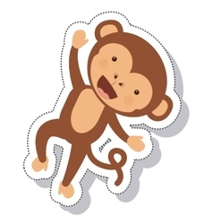Funny monkey isolated icon vector