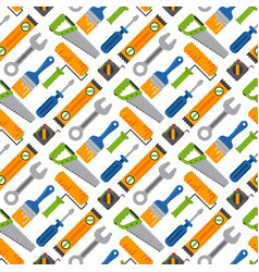 hands with construction tools seamless pattern vector image