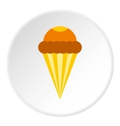 Ice cream cone with frosting icon flat style vector