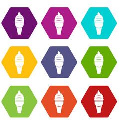 Ice cream in waffle cone icon set color hexahedron vector