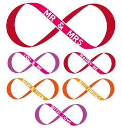 infinity sign set vector image vector image