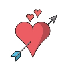 Isolated arrow through heart design vector image